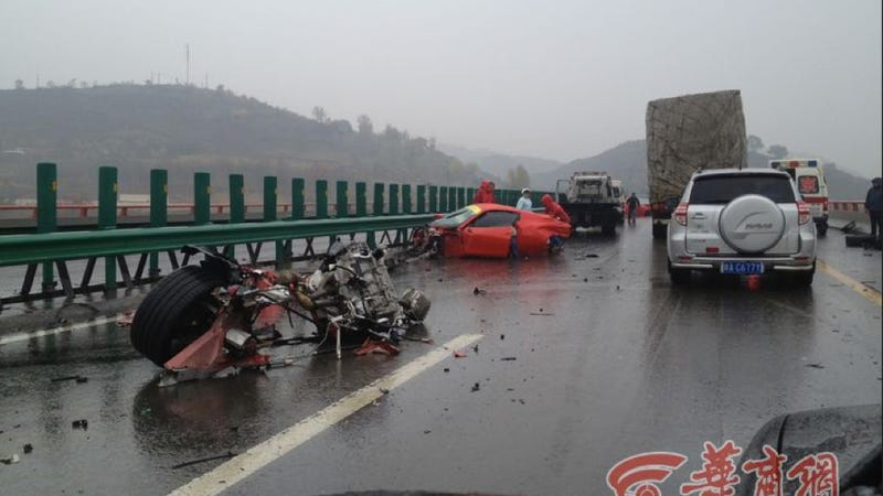 Illustration for article titled Two New Ferraris Destroyed In Exotic Rally Crash On Dangerous Chinese Road