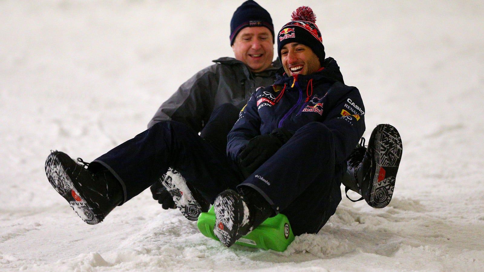 Caption This Photo Of A Sledding Daniel Ricciardo Of