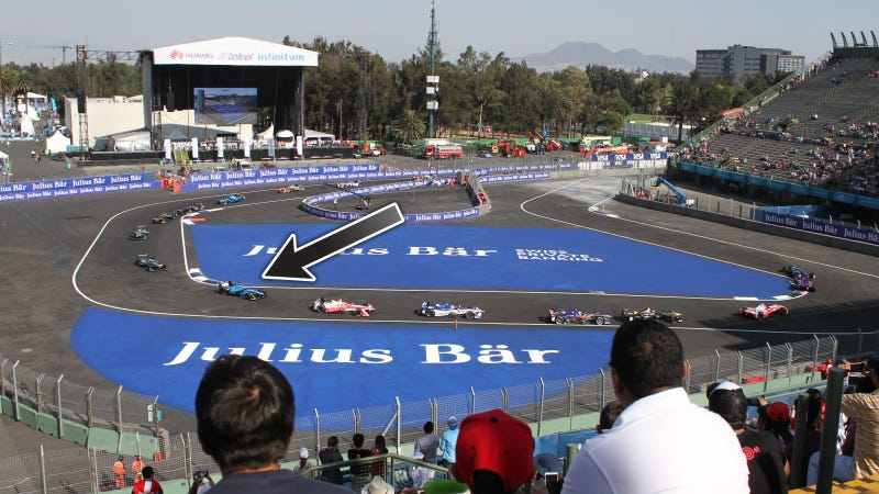 View from my seat. That first angry bright blue car is Buemi, not running in first. Photo credit: Stef Schrader