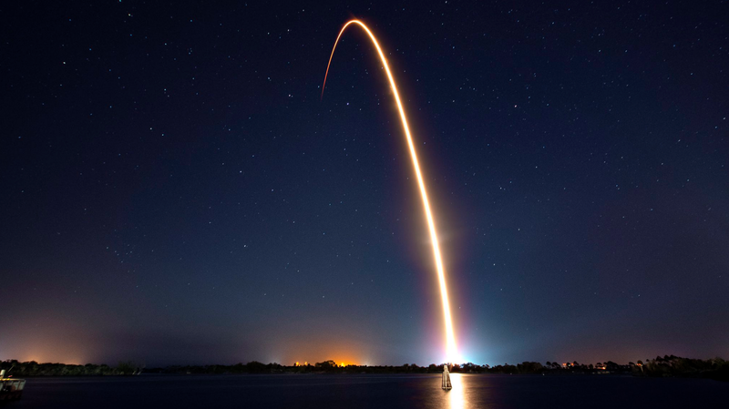 SpaceX Falcon 9 launching from Cape Canaveral on February 21, 2019 with the Beresheet lunar lander onboard.