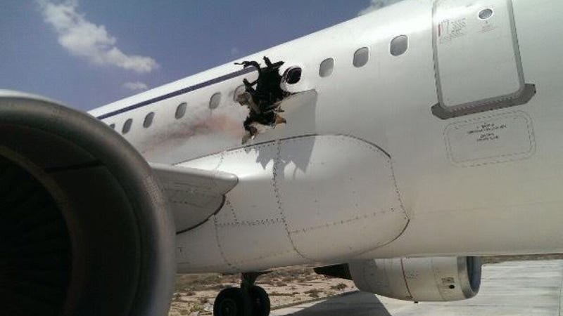 Illustration for article titled Explosion Rips Hole In Airliner, Two Reportedly Injured