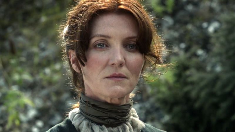 Michelle Fairley as Catelyn Stark in slightly happier, slightly less dead, times on Game of Thrones.