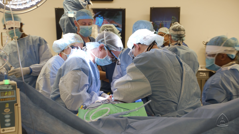 The Johns Hopkins surgical team at work on the patient.