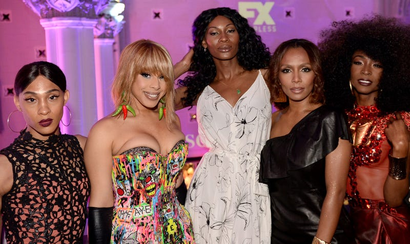 (L-R) MJ Rodriguez, Hailie Sahar, Dominique Jackson, Janet Mock and Angelica Ross attend the FX 'Pose' Ball on June 2, 2018 in New York City.