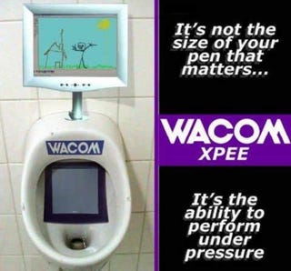 Illustration for article titled WACOM Urinals, Disturbing Even if Fake