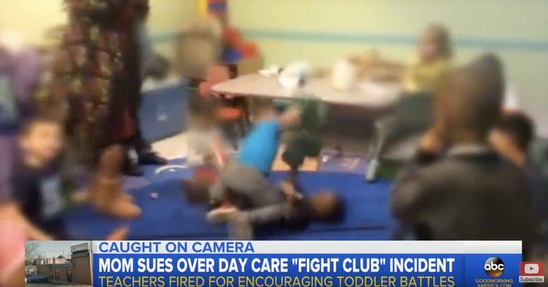 Video captured at a St. Louis daycare shows kids engaged in what can only be described as a toddler fight club.