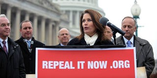 Rep. Michele Bachmann gives an anti-Affordable Care Act speech. (Tim Sloan/AFP/Getty Images)