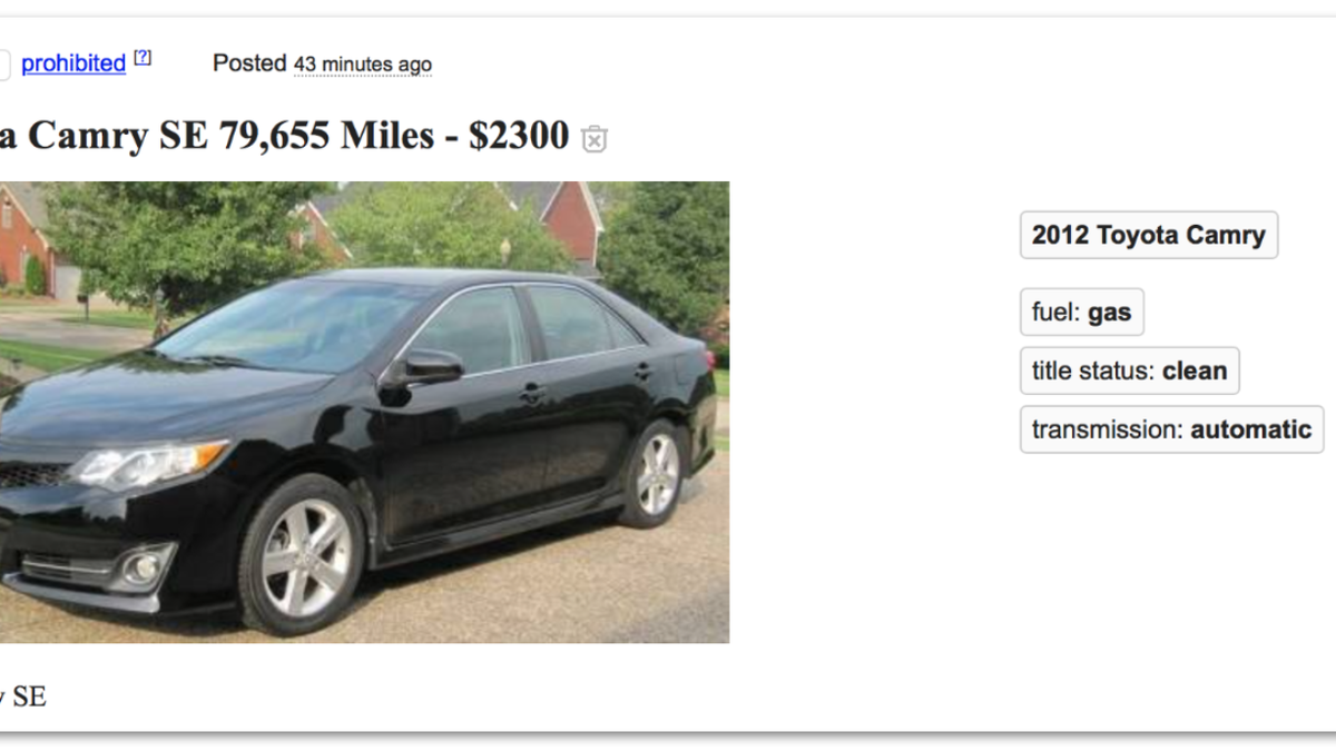 This Craigslist Spam Ad For A 2 300 Toyota Camry Is A Work Of