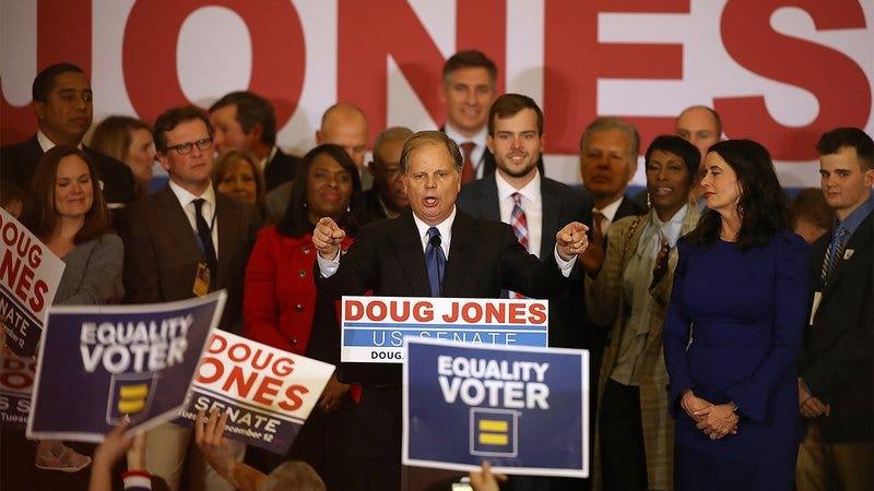 Doug Jones speaking to supporters.