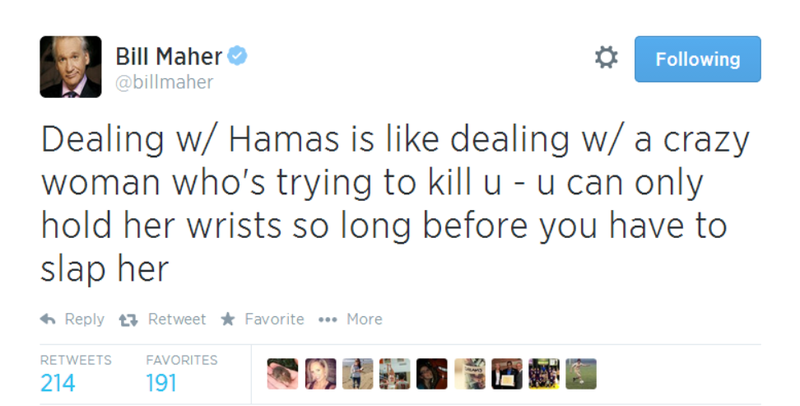Illustration for article titled Bill Maher Tweets Hamas is Like Dealing With a 'Crazy Woman'
