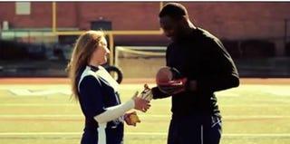 """Screenshot from Jillian Parker's """"Mr. Football"""" music video"""