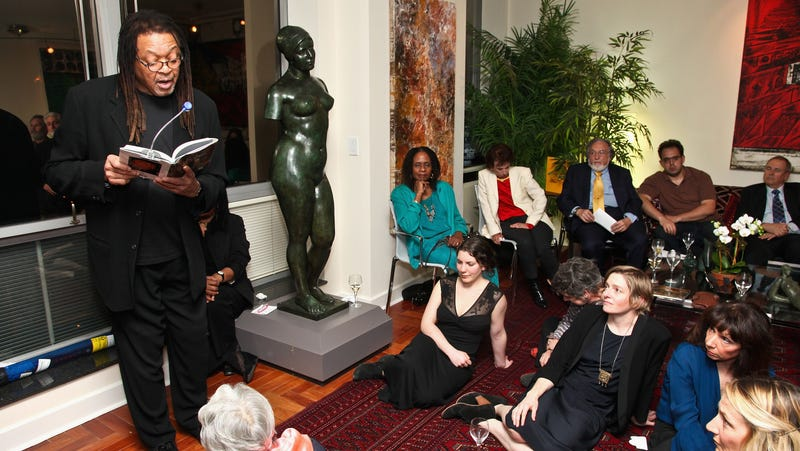 Quincy Troupe reads excepts from his poetry at a private residence in New York City.