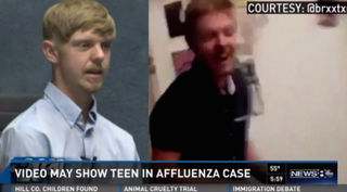 Ethan Couch at a recent appearance for questioning by lawyers on a civil case, and a screenshot that Twitter user @BlondeSpectre claims is Couch at a party.WFAA