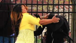 Toya Graham in the viral video that showed her slapping her 16-year-old son, Michael, for joining in the riots in BaltimoreCNN Screenshot