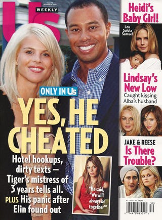 Illustration for article titled This Week In Tabloids: Tiger's Mistress, Lindsay's Coke Buddy, Britney's Pregnancy