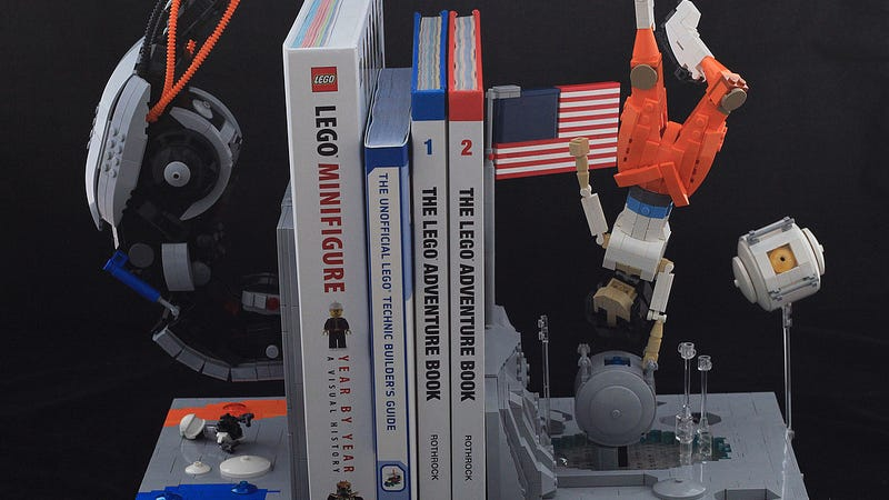 The ending of portal 2 dramatically rendered as lego bookends - Portal book ends ...