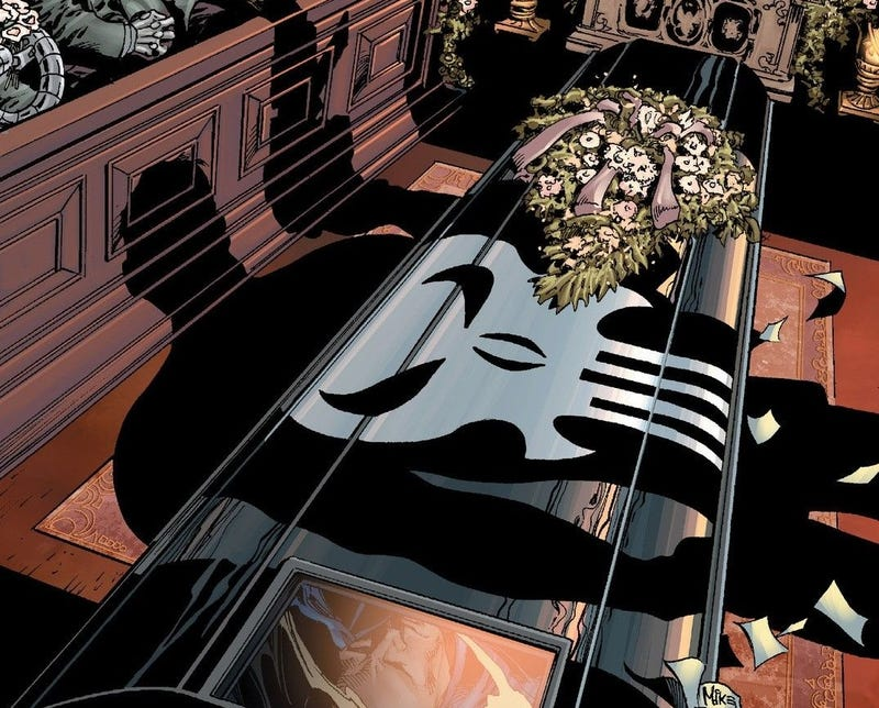 """Illustration for article titled Comics Past: Punisher War Journal #6, """"Small Wake for a Tall Man."""""""