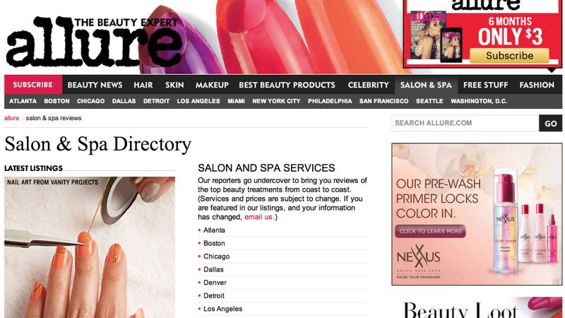 Illustration for article titled Allure Introduces an Online Salon Booking System