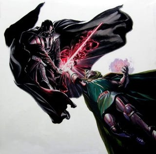 Illustration for article titled Victor Von Doom goes toe-to-toe with Darth Vader in this amazing Art