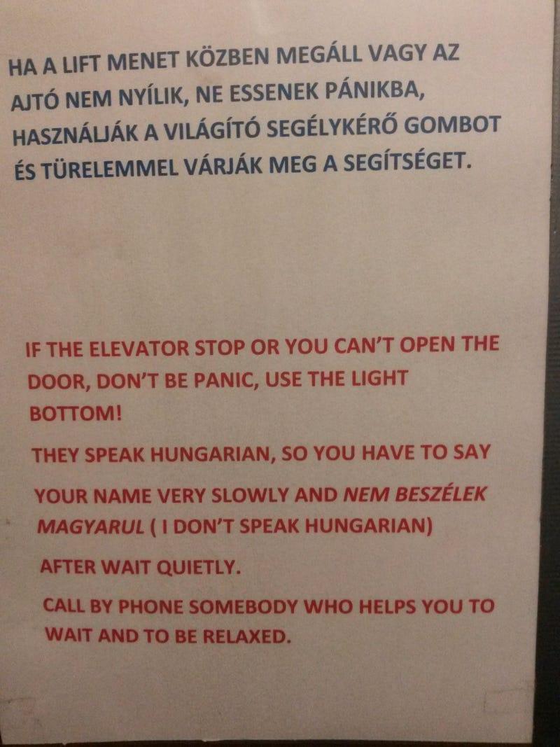 Illustration for article titled Ha külföldi vagy, ebben a liftben kell bent ragadnod!