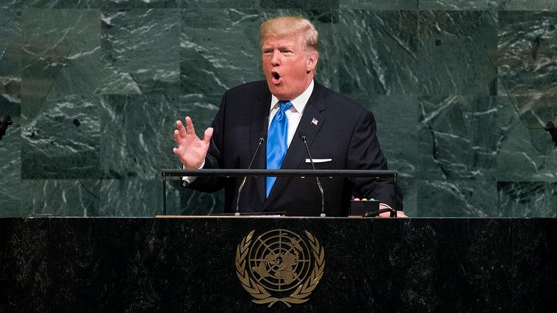 Donald Trump giving a speech.