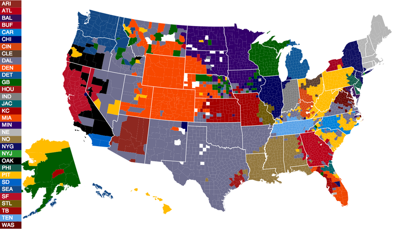 Facebook Data Provide The Most Accurate NFL Fandom Map Ever Created - Picture of a map