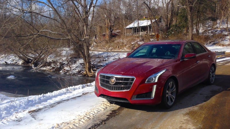 Illustration for article titled Yes, You Can Hoon A $70,000, 420 HP Cadillac On Ice And Snow