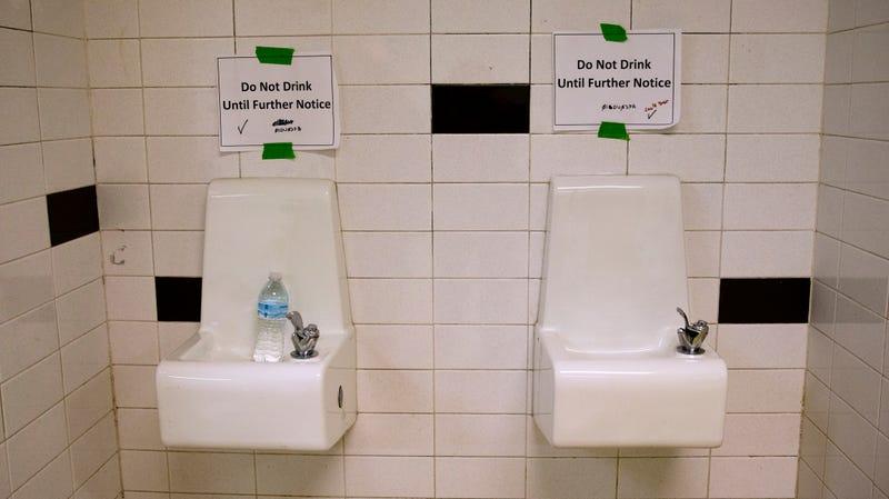 Flint school water fountains back in 2016.