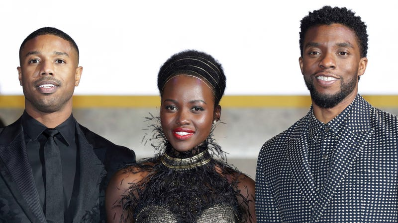 Actor Michael B. Jordan, Lupita Nyong'o, and Chadwick Boseman(Left to Right) arrive at the red carpet of the Seoul premiere of 'Black Panther' on February 5, 2018 in Seoul, South Korea.
