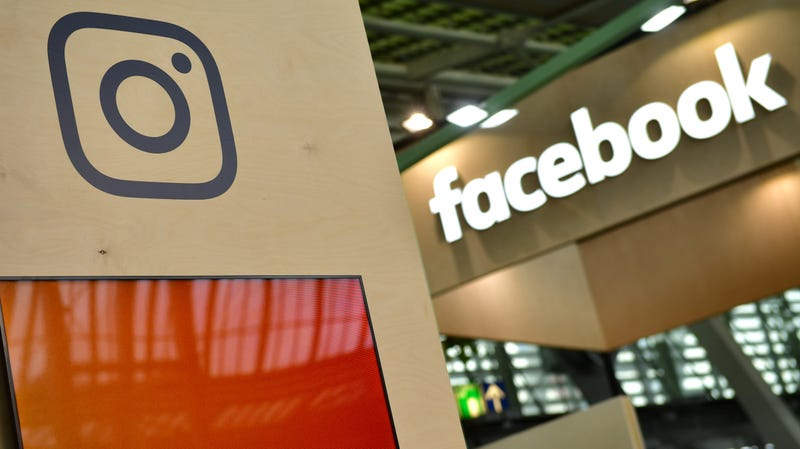 Facebook and Instagram logos on display at the 2018 CeBIT technology trade fair in Hanover, Germany.