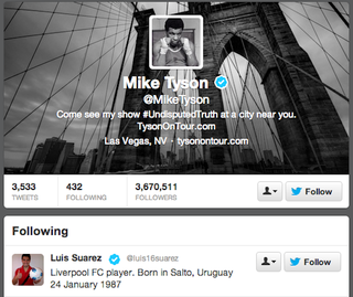 Illustration for article titled Mike Tyson Is Now Following Luis Suárez On Twitter