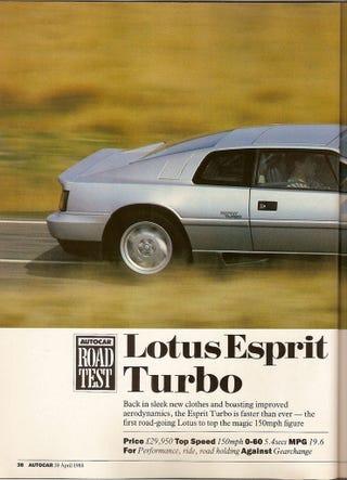 Illustration for article titled Lotus Esprit Turbo road test, Autocar, 20 April 1988
