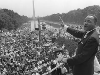 Martin Luther King Jr. waves to supporters on the Mall in Washington, D.C., Aug. 28, 1963.AFP/Getty Images