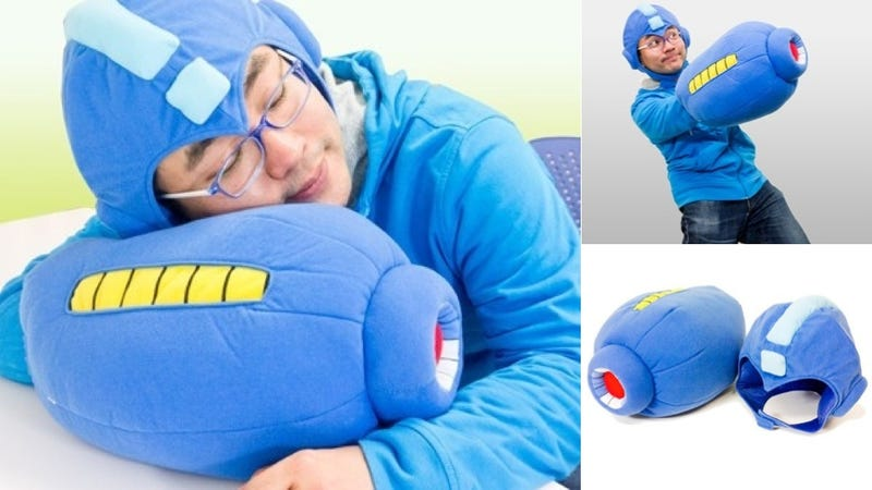 Illustration for article titled Bring on Sandman with a Mega Man Sleep Hoodie and Mega Buster Pillow