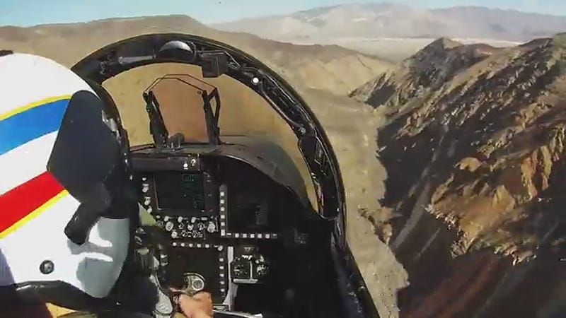 """Illustration for article titled This Cockpit Video Of A F/A-18F Blasting Through The """"Jedi Transition"""" Rocks"""