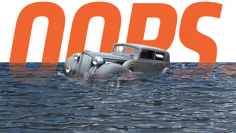 Illustration for article titled 1938 Packard Wins Class At Concours, Immediately Rolls Into Pond