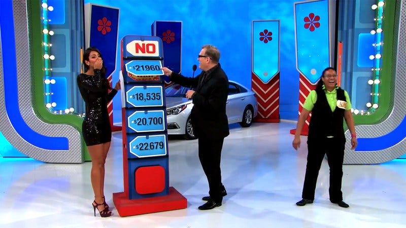 Manuela Arbelaez (left) realizes her mistake after bungling the Five Price Tags game on The Price Is Right
