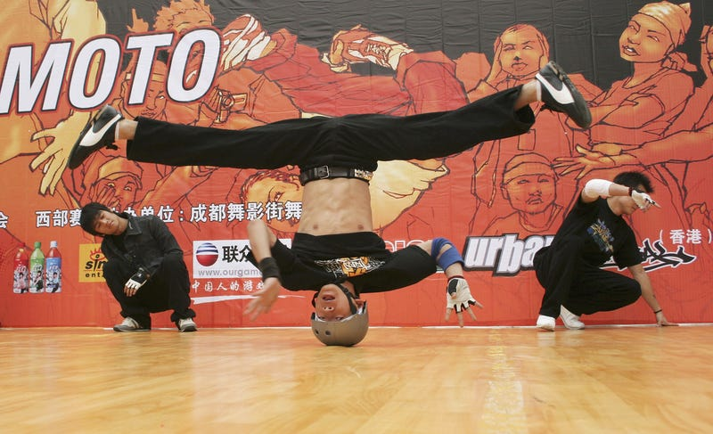 A contestant performs during a regional match of the 2005 Battle of the Year Hip Hop Dance China Contest on May 12, 2005, in Chengdu of Sichuan Province, China. (China Photos/Getty Images)