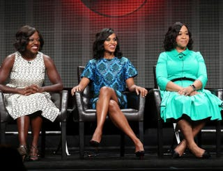 Actresses Viola Davis and Kerry Washington and producer Shonda Rhimes speak onstage Aug. 4, 2015, in Beverly Hills, Calif., during the 2015 summer Television Critics Association Tour.Frederick M. Brown/Getty Images