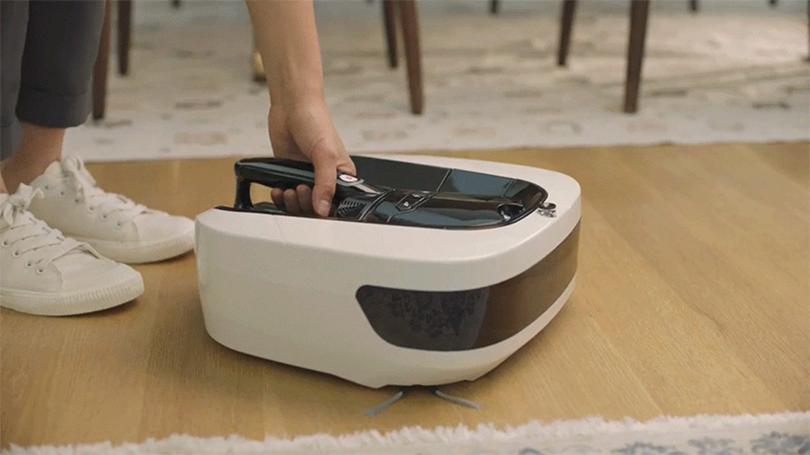 The Coral One Robovac's Has a Hand Held Cleaner Built In