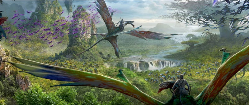 Concept art from a ride in Pandora: World of Avatar. Image: Disney
