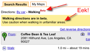 Illustration for article titled Google Maps Adds Walking Directions