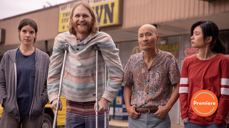 Sonya Cassidy, Wyatt Russell, Long Nguyen, and Celia Au star in Lodge 49