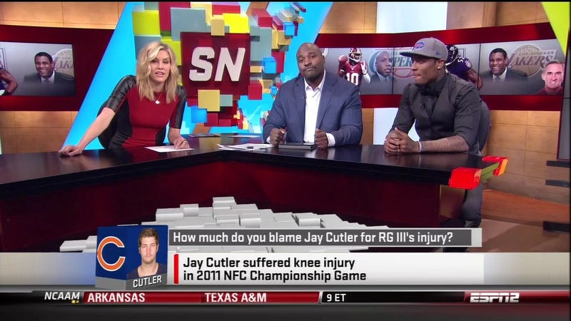 "Illustration for article titled ""How Much Do You Blame Jay Cutler For RGIII's Injury?"" Was An Actual Topic Of Conversation On SportsNation"