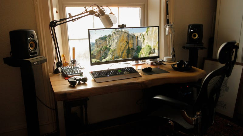 The Custom Wood Ultrawide Workspace