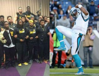 The University of Missouri players united in protest; Cam Newton@1SHERRILS_2MIZZ VIA Twitter;Andy Lyons/Getty Images