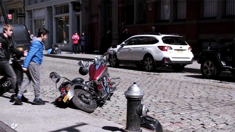 Awesome Cobra Kai Prank Shocks Bystanders as a Real-Life Karate Kid Chops a Bully's Motorcycle In Half