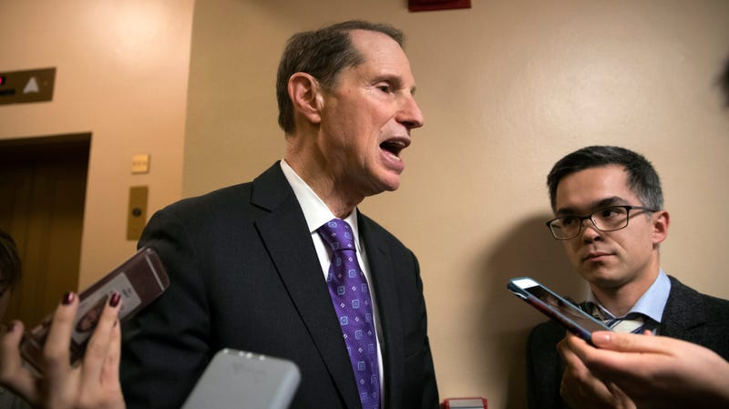 Sen. Ron Wyden, D-Ore., speaks to reporters on Capitol Hill.