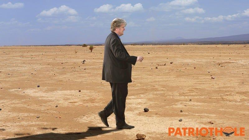 Steve Bannon walking in the desert.