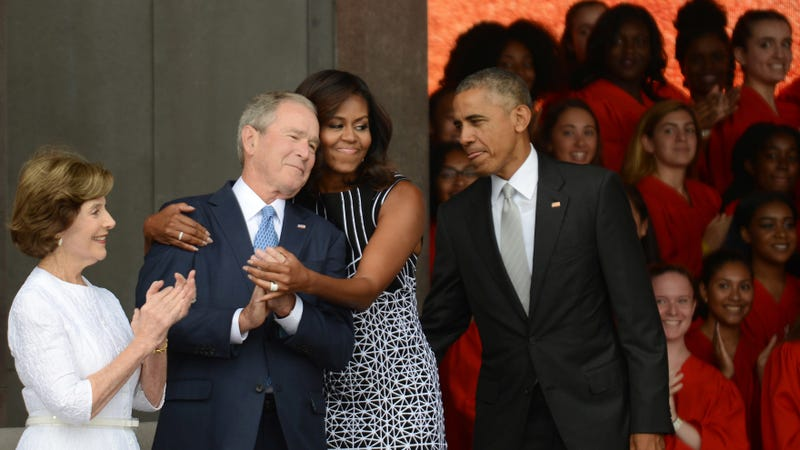 Then-President Barack Obama and former President George W. Bush at the dedication of the National Museum of African American History and Culture September 24, 2016. Image via Getty.